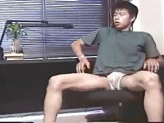 Asian Student masturbates
