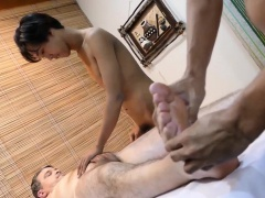 Massaged daddy toyed in ass in trio