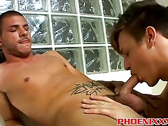 Gay twinks intese deepthroat cock blowjob session