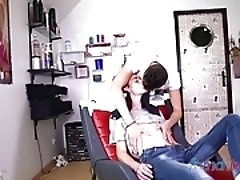 My hairdresser is horny - young twinks fucking hard