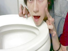 Cute Asian Twink Licks Toilet Seat
