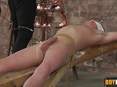 Keiron takes enslaved Cameron to experience a waxed big cock