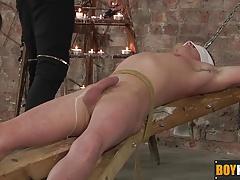 Keiron takes enslaved Cameron to experience a waxed big cock