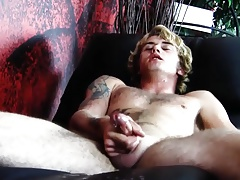Blonde Twink Hoses Furniture Down with Cum
