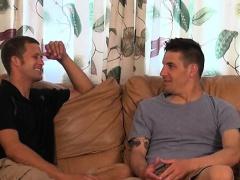 Gay dudes arrange some deep cock sucking and ass fuck