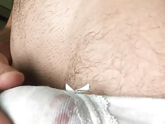 Jumping in panties and cumming with a carrot