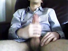 Skinny 18 year old strokes huge cock