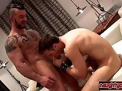 Muscle twink first blowjob