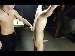 BDSM bondage boy gets strokes, whiplashes and affection