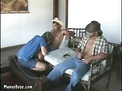 Young gay city dweller got banged by two cowboys